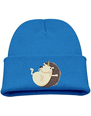 Cute Hedgehog Unicorn Kid's Hats Winter Funny Soft Knit Beanie Cap, Unisex