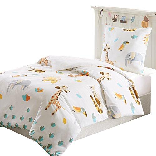 SCM Children's Animal Zoo Cotton Blend Duvet Cover Twin Size – White with Lion, Giraffe, Fox, Birds, Raccoon, Cute Animals Print - 2 Piece Twin Duvet Cover Set – Zipper (Giraffe Lion Bird)