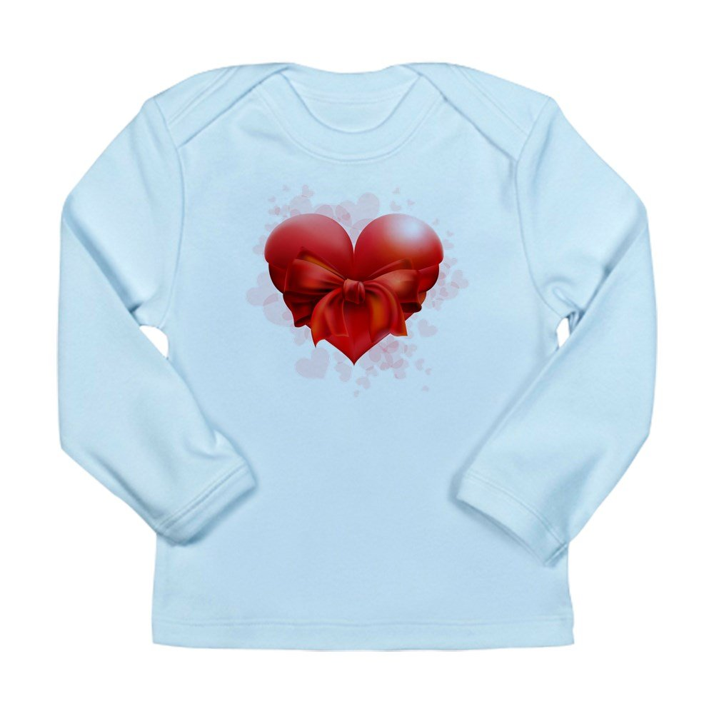 Truly Teague Long Sleeve Infant T-Shirt Heart With Red Bow Sky Blue 12 To 18 Months