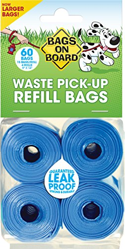 Bags on Board Dog Waste Pickup Bags, 60 bags, Multiple Colors Bags On Board Plastic Leash