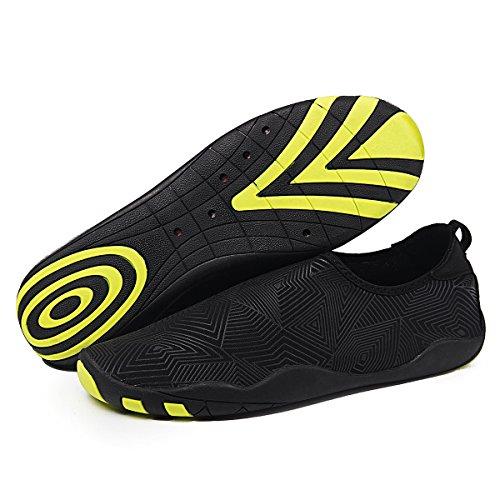 WateLves Wasserschuhe Mens Womens Beach Swim Schuhe Quick-Dry Aqua Socken Pool Schuhe für Surf Yoga Wassergymnastik Jh.black