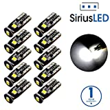 SiriusLED Extremely Bright 3030 Chipset LED Bulbs for Car Interior Dome Map Door Courtesy License Plate Lights Compact Wedge T10 168 194 2825 Xenon White Pack of 10 фото