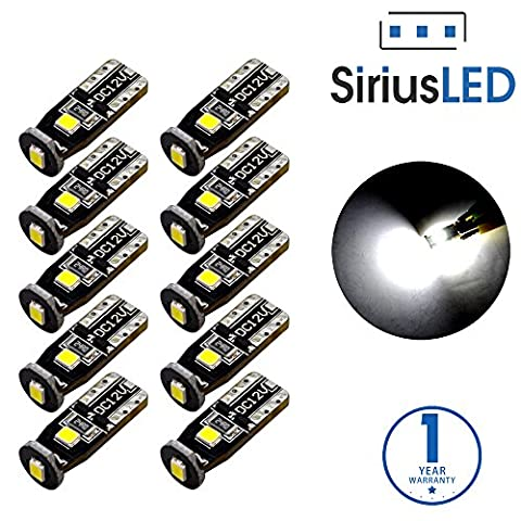 SiriusLED Extremely Bright 3030 Chipset LED Bulbs for Car Interior Dome Map Door Courtesy License Plate Lights Compact Wedge T10 168 194 2825 Xenon White Pack of - 1991 Chrysler New Yorker