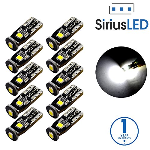 SiriusLED Extremely Bright 3030 Chipset LED Bulbs for Car Interior Dome Map Door Courtesy License Plate Lights Compact Wedge T10 168 194 2825 Xenon White Pack of 10 (Manual Tt Coupes)