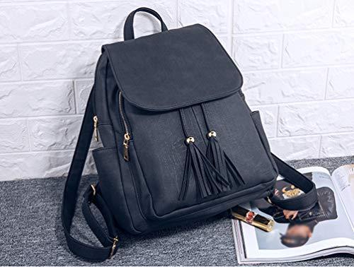 Shoulder School Rucksack PU Women Leather Travel Girls Bags Casual Handbags Bag Backpack Black Tassel YuanDian Ladies Soft qpSwxYvBv
