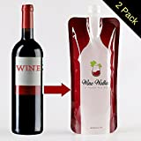 2 Pack Wine Walker Foldable Flexible Bottles + Collapsible Easy Fill Funnel Accessory | Reusable Portable Plastic Carrier For Red or White Vino to Go | Travel Gift Flask For Liquor & Alcohol On The Go