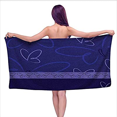 Leigh home 3D Printing Beach Towels? Floral Like Butterflies Design with Butterfly Border Artwork Print White Blue and,for Both Adults and Kids