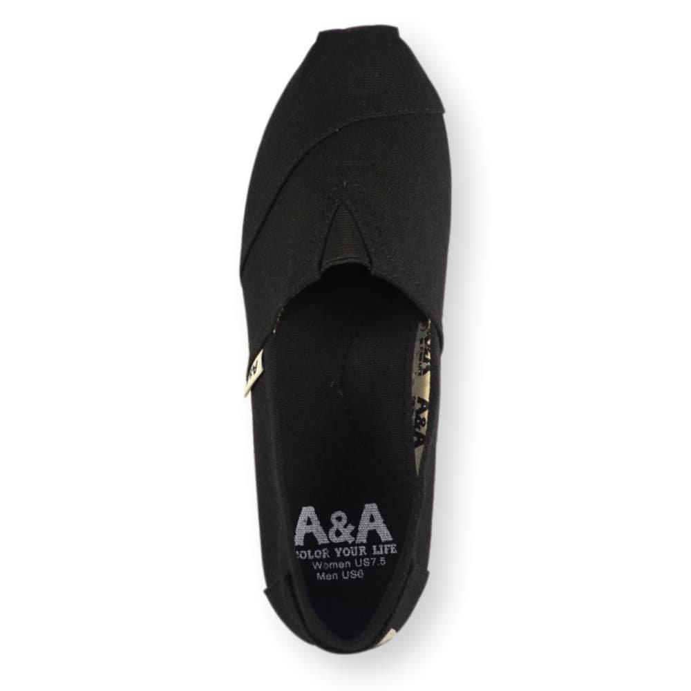 A&A Vegan Classic Slip-on Canvas Alpargatas, Casual Shoes for Women & Men (Unisex) (6 US Women / 4.5 US Men, Black on Black) by A&A (Image #3)