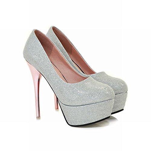 Carolbar Womens Fashion Sexy Elegance Grace Party Bridal Wedding Platform High Stiletto Heel Dress Pumps Shoes Silver CKgyUcxH