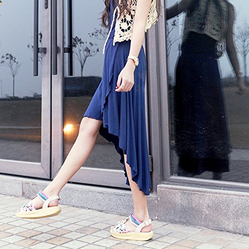 COOLCEPT Mujer Moda Correa En T Punta Abierta Flatform Sandalias Stylish Zapatos with Floral Blanco