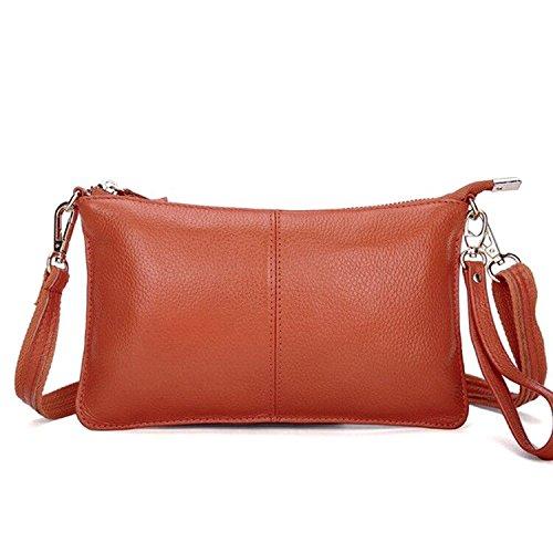 Women Bag Genuine Orange Mynos Wallet Bag Crossbody Purse Leather Clutch Wristlet Daily Small Smartphone 6dqwZ