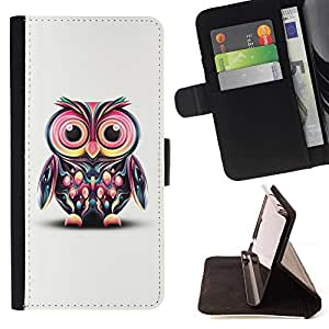 DEVIL CASE - FOR Apple Iphone 5C - Cute Colorful Big Eye Owl - Style PU Leather Case Wallet Flip Stand Flap Closure Cover