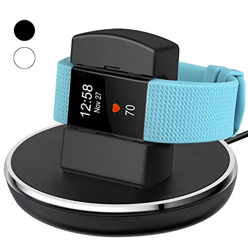 For Fitbit Charge 2 Charger, EPULY for Fitbit Charge 2 Accessories Charging replacement Stand Dock Station Holder Cradle with 3 feet Charging USB Cable for Fitbit Charge 2 Smartwatch Black