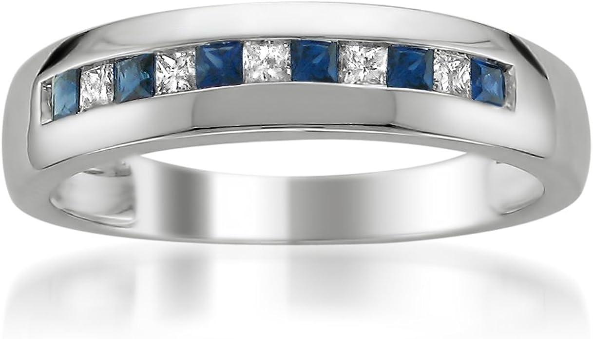 14k White Gold Princess Cut Diamond Blue Sapphire Men S Wedding