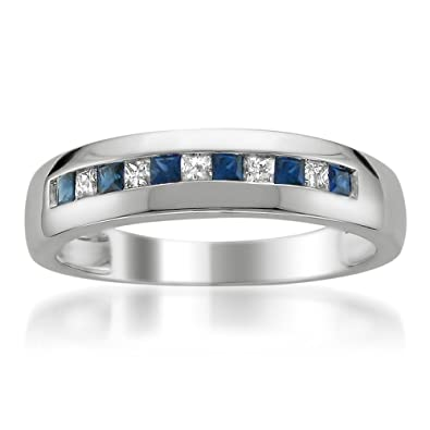 14k White Gold Princess Cut Diamond U0026 Blue Sapphire Menu0027s Wedding Band Ring  (1