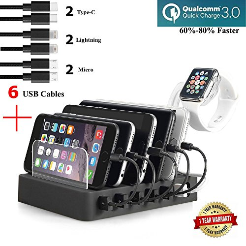Fastest Charging Station with 6 USB Cables, QC 3.0,Type C,iWatch Holder,COSOOS 6-Port USB Quick Charging Stand,Docking Station Organizer Hub for iPhone,iPad,iWatch,Apple,Samsung,Tablets,Kindle,Speaker from COSOOS