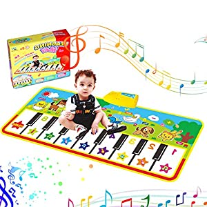 Musical Piano Mat Piano Keyboard Play mat Portable Electronic Educational Musical Blanket Build-In Speaker & Recording Function For Kids Toddler Girls Boys