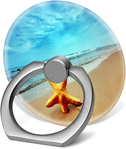 360 Degree Finger Stand Cell Phone Ring Holder Car Mount with Hook for Smartphone-Beach Starfish