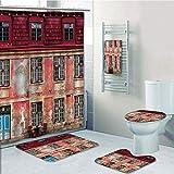 Bathroom 5 Piece Set shower curtain 3d print Multi Style,Urban,Old Aged Building in Ancient City Tallinn Estonia Antique Structure Windows Decorative,Ruby Pink Sky Blue,Bath Mat,Bathroom Carpet Rug,No