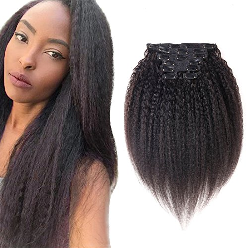 Good quality Kinky Yaki Straight Thick Clip in Human Hair Extensions Double Weft Brazilian Unprocessed Virgin Hair Top Grade 7A 7Peices/set for American Black Women (70g 12