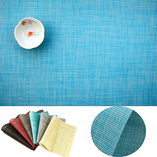 IMIYOKU Placemat, MiniBasketweave Woven Vinyl Non-slip Insulation Placemat Washable Table Mats (4, Blue)