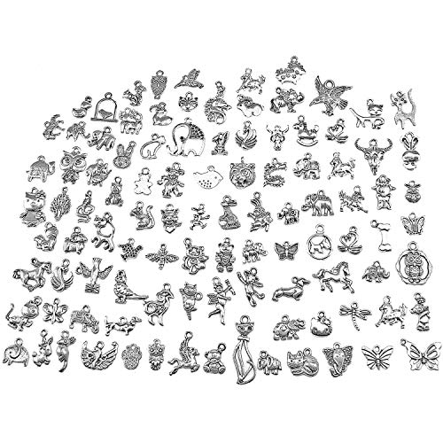 Animal Bracelet Charm - PGMJ Wholesale Bulk Lots DIY for Necklace Bracelet Charms for Jewelry Making and Crafting Jewelry Making Silver Charms Mixed Smooth Tibetan Silver Metal Charms Pendants (100pcs Silver Animal Series)