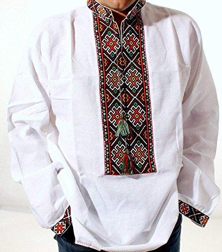 VYSHYVANKA 망 우크라이나어 수 놓은 셔츠 HUTSUL 화이트 리넨 MULTY 색상 NIZINKA 슬라브 결혼 선물 아이디어 크기 2XL