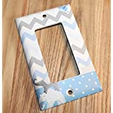All Creatures Big and Small Blue Gray Elephants and Birdies Boys Bedroom Light Switch Cover LS0084 (Single Decora)