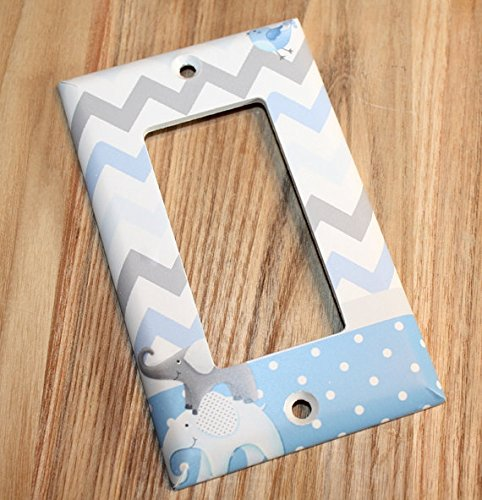All Creatures Big and Small Blue Gray Elephants and Birdies Boys Bedroom Light Switch Cover LS0084 (Single Standard) Toad and Lily LS0084a