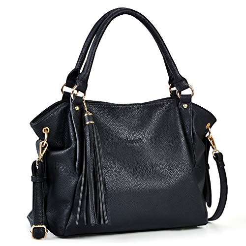 Bageek Black Purses for Women Pu Leather Purses and Handbags for Women Tassel Satchel Handbags Tote Purse