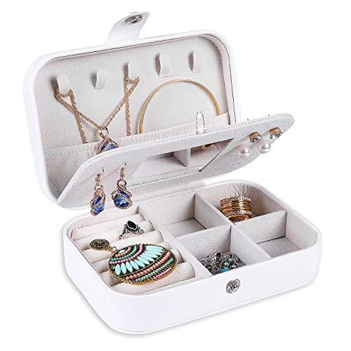 (misaya Travel Jewelry Box Case - Women Small 2 Layer Jewelry Holder PU Leather Jewelry Organizer for Earring Ring Necklace with Mirror, White)