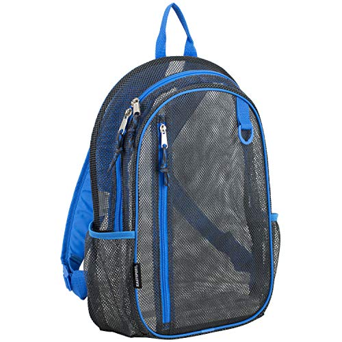 Eastsport Active Mesh Backpack with Padded Adjustable Straps, Graphite/Royal Blue