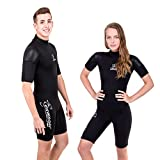 Seavenger 3mm Shorty Wetsuit with Stretch Panels, Perfect for Scuba Diving, Snorkeling, Surfing (Scuba Black, Men's Large)