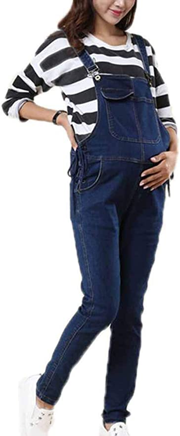 Jeans Denim Premaman Denim Maternity Donna Salopette Pantaloni di Tuta