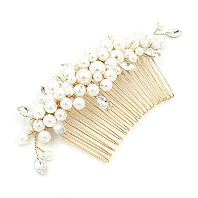 M Bridal Women's Pearls Gold Twigs Girls Prom Wedding Party Hair Comb Hair Accessory O905