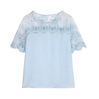 aa4365d049662d Bravetoshop Women Summer Lace Short Sleeve T-Shirt Soild Tank Tops Blouse at  Amazon Women's Clothing store: