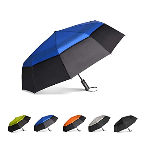 8ca8a1930299 Brainstorming Automatic Open Golf Umbrella Extra Large Oversize Double  Canopy Vented Windproof& Waterproof Rain Umbrella, 47inch (Black &Royal  Blue)
