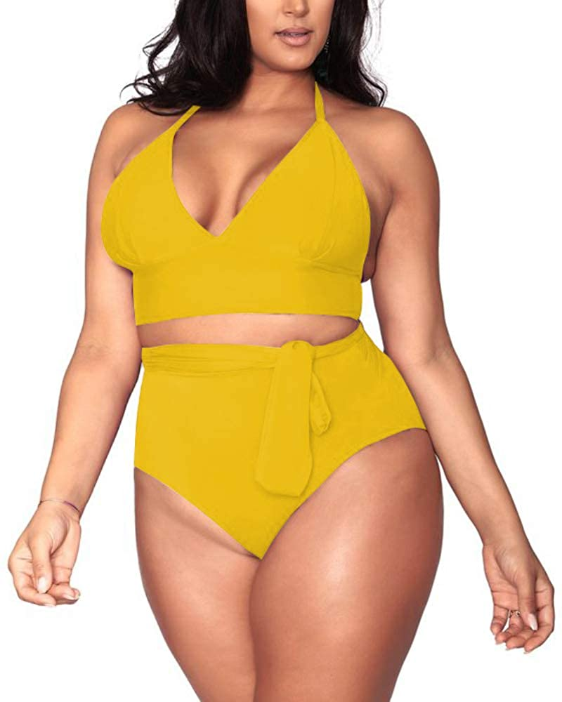42677703faf Sovoyontee Women s Plus Size High Waisted Tummy Control Swimwear Swimsuit  Full Coverage at Amazon Women s Clothing store