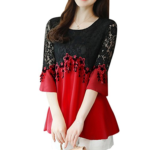 SansoiSan Women's Casual Crew Neck Plus Size Tops Lace Shirt Chiffon Blouse(S-5XL) (Small, Red) ()