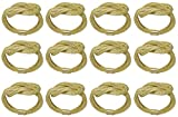 SKAVIJ Gold Napkin Rings Set of 12 Round Mesh for Weddings Dinner Parties or Every Day Use