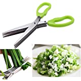 DFS's Multifunction 5 BLADE VEGETABLE STAINLESS STEEL HERBS SCISSOR (Blade Comb Free)(Colors may vary)