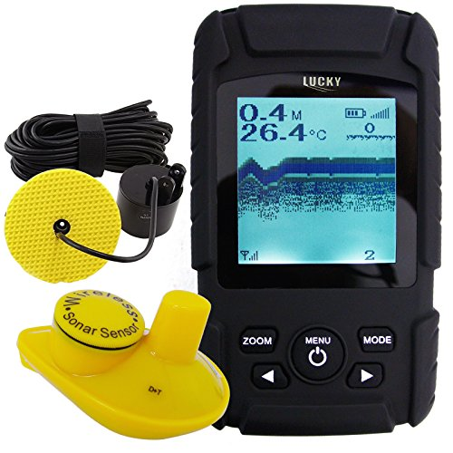 Lucky Handheld 2-in-1 Fish Finder Wired Cable 100m and 40m Wireless Sensor with Rechargeable Li Battery (220V)
