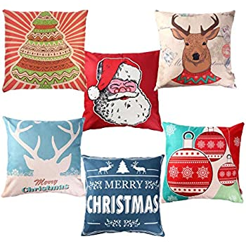 Unomor Christmas Pillow Covers for Sofa Bedroom Home Décor - Set of 6 (18'' X 18'')