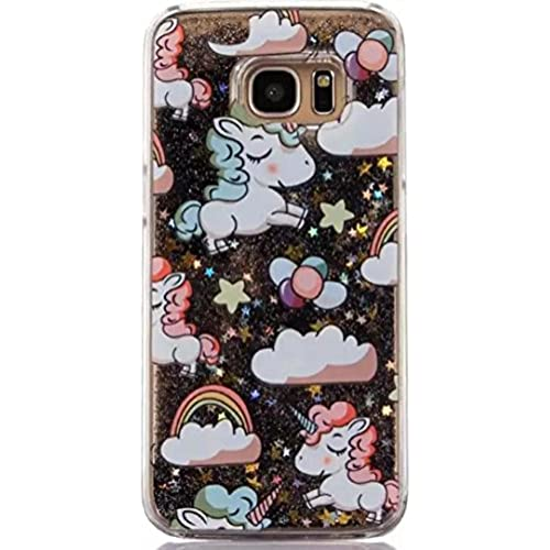 Galaxy S7 Luck Curly Hair Unicorn Sand Case, OMORRO New Attractive Curly Horse Shiny Flowing Floating QuickSand Sand Dynamic Moving Liquid Stars Sales