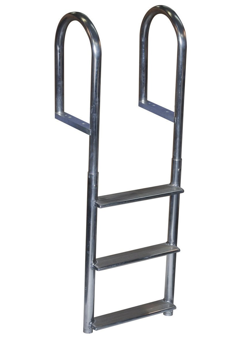 Dock Edge Welded Fixed Wide Step Dock Ladder, 3 Steps, Aluminum