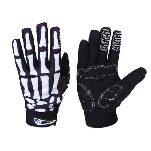 Skeleton Pattern Bicycle Biker Gloves Full Finger Warm Cycling Bike Riding Gloves Anti Skid Bone Sports Gloves Winter Men Women Unisex Motorcycle Motorbike Racing Gloves Large