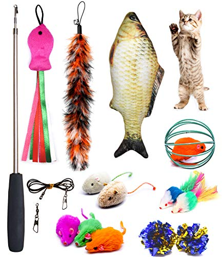 Wand Teaser Cat (PETOY Cat Toys Set, Cat Retractable Teaser Wand, Catnip Fish, Interactive Cat Feather Toy, Mylar Crincle Balls, Two Cotton Mice, Two Fluffy Mouse)