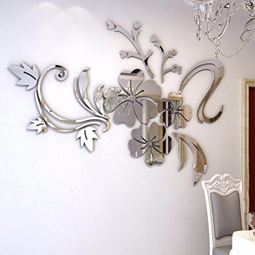 Rumas 3D Mirror Floral Art Removable Wall Sticker Acrylic Mural Decal Home Room Decor (Silver)