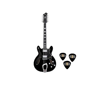 Hagstrom vidlx12-blk Viking Deluxe Series Guitarra eléctrica con acabado en negro brillante con z-pick: Amazon.es: Instrumentos musicales