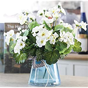 Skyseen 5Pcs Artificial Chinese Flowering Crab-Apple Fake Begonia Malus spectabilis Flower for Wedding, Room, Home, Hotel, Party Decoration (White) 36
